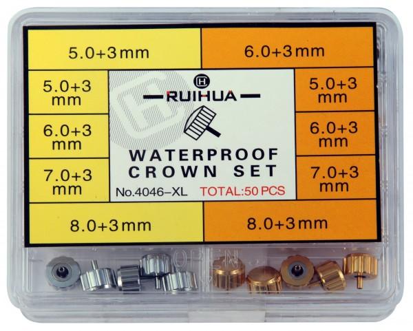Uhrenkronen Sortiment, 50 Stück, Ø 5 mm - 8 mm, wasserdicht