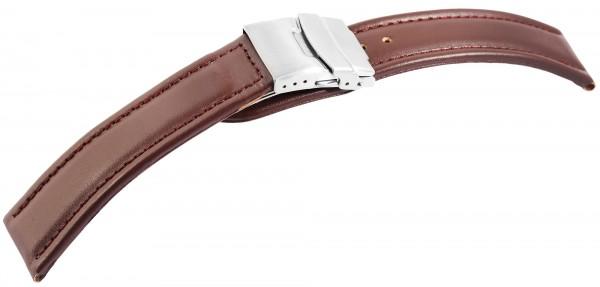 Echtleder-Uhrenarmband, braun, Faltschließe, 16 mm / 24 mm