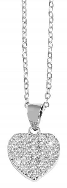 925 Echt Silber Kette mit Herz-Anhänger und Zirkoniabesatz, 43+5 cm, 925/rhodiniert