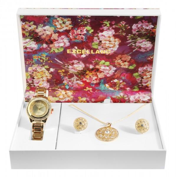 Excellanc Geschenkset mit Damenuhr, Halskette und Ohrringen
