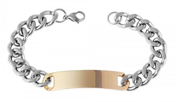 Akzent Panzerketten-Armband aus Edelstahl in Bicolor mit IP Gold-Beschichtung