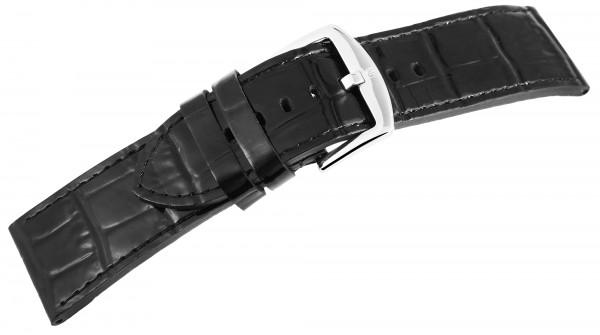 Echtleder-Uhrenarmband, schwarz, Krokooptik, 26 mm