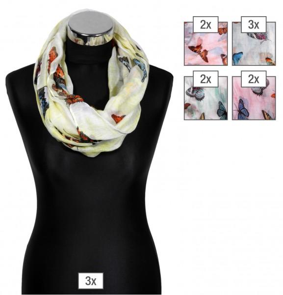 Schlaufenschalpaket farblich sortiert, 100% Polyester, 50x170cm, VE 12, jeder Schal verkaufsfertig