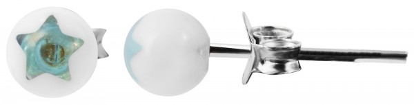 925 Echt Silber Kinder Ohrstecker, Perle mit Stern