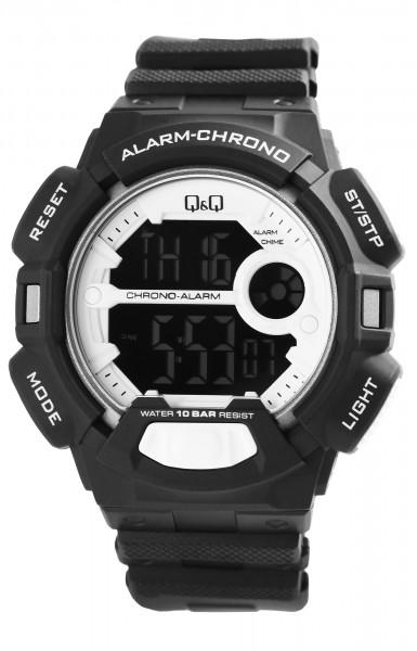 Q&Q Herren Digitaluhr mit Silikonband in schwarz