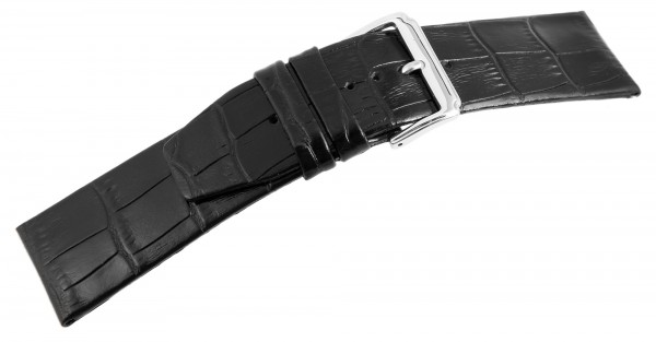 Echtleder Ersatzarmband, Schwarz, flach, Dornschließe