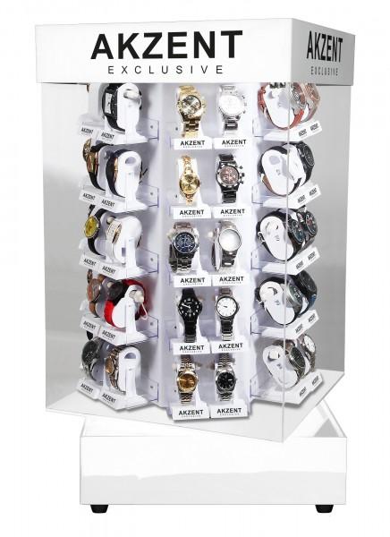 Thekendisplay für 48 Uhren, manuell drehbar, 2 abschließbare Türen, Maße 38 x 38 x 71 cm