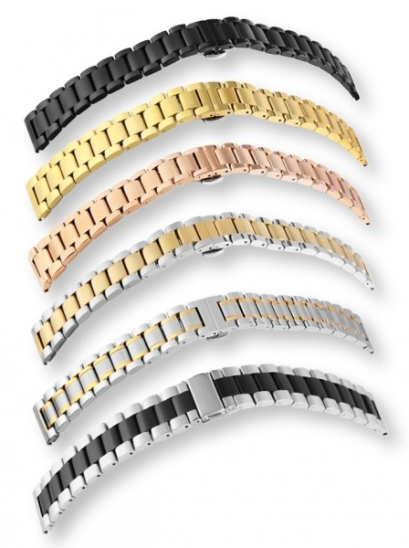 Edelstahl Uhrenarmbänder im 12er Set, sortiert, 6 verschiedene Ausführungen