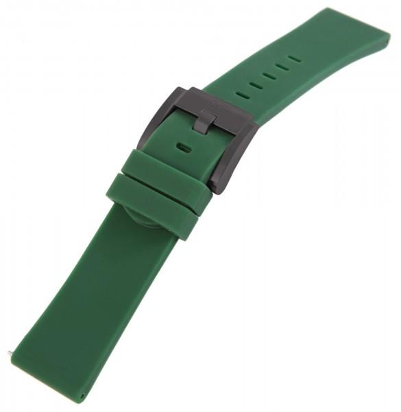TW Steel Silikonband, 22 mm, dunkelgrün, schwarze Schließe