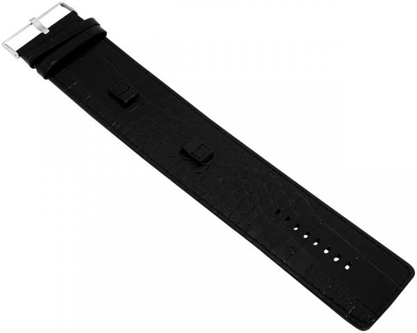Basic Echtleder Armband in schwarz, Kroko, flach, 40 mm