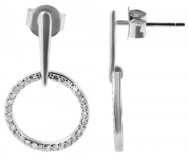 925 Echt Silber Ohrstecker, zweiteilig mit Stäbchen und Ring, Zirkoniabesatz, 925/rhodiniert