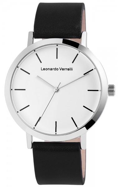 Leonardo Verrelli Herrenuhr mit Lederimitationsarmband