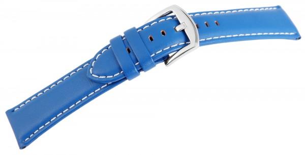 Echtleder-Uhrenarmband, blau, weiße Naht, 22 mm
