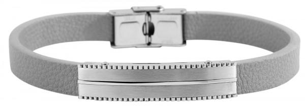 Echt Leder Armband mit Edelstahlelementen, 24 cm