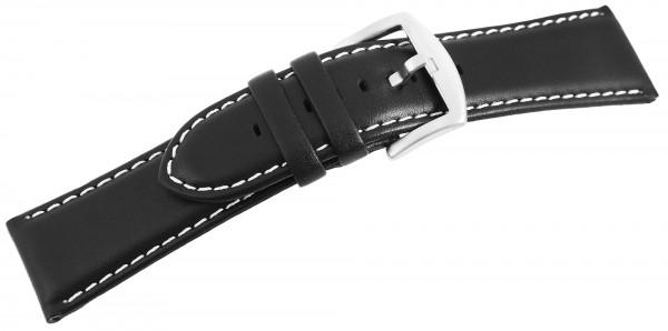 Echtleder Ersatzarmband, schwarz, weiße Naht, gepolstert, Dornschließe