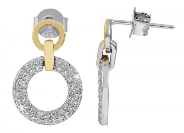 925 Echt Silber Ohrstecker mit runden Elementen und Zirkoniabesatz, bicolor, 925/rhodiniert