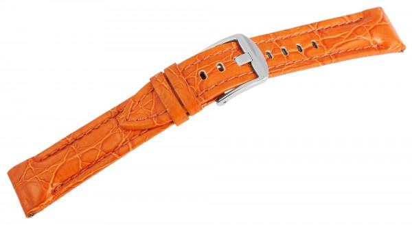 Echtleder Ersatzarmband, orange ,gepolstert, Dornschließe