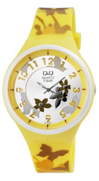Q&Q Damenuhr mit Silikonband in gelb