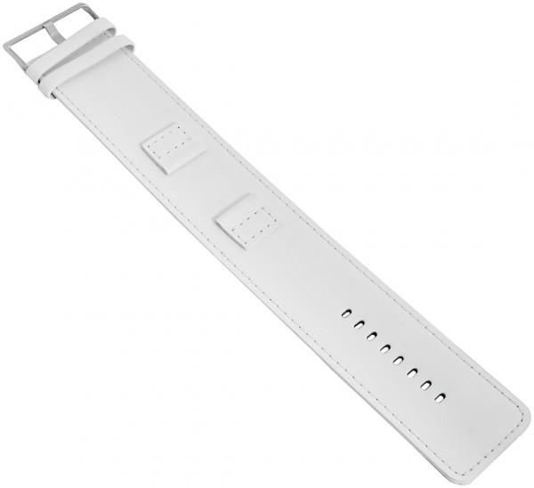 Basic Echtleder Armband in weiss, glatt, flach, 18 mm