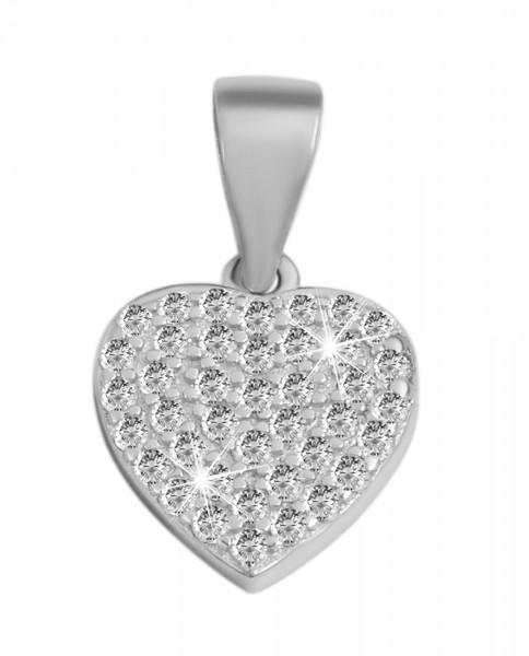 925 Echt Silber Anhänger ohne Kette, kleines Herz mit Zirkoniabesatz, 925/rhodiniert
