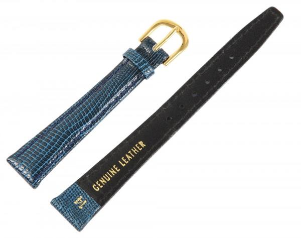 Echtleder Armband in dunkelblau, Schlangenmuster, gepolstert, Dornschließe