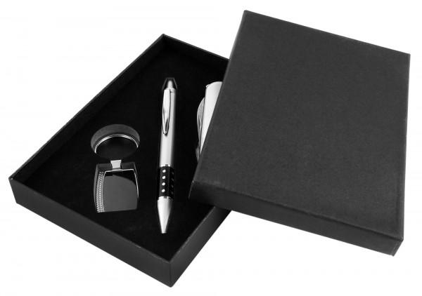 Uhrenset / Geschenkset bestehend aus Kugelschreiber, Taschenmesser und Schlüsselanhänger