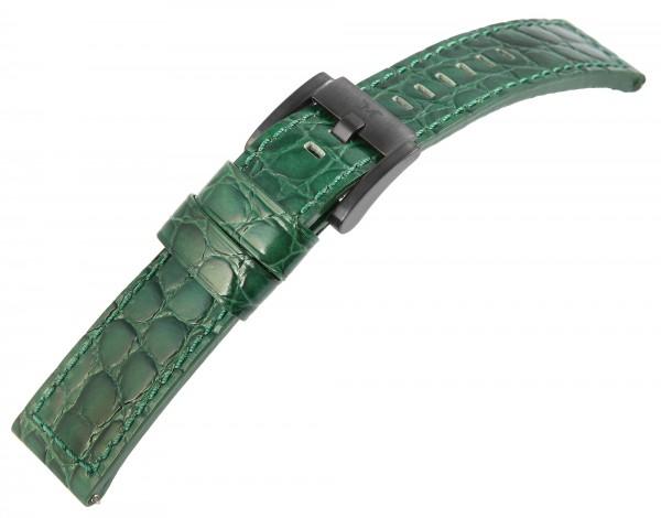 TW Steel Echt Leder Armband, 22 mm, grün, schwarze Schließe