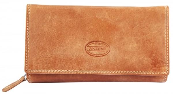 Akzent Damen Geldbörse aus Echtleder. Format 17 x 10 cm. RFID
