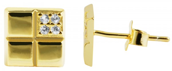 925/- Echt Silber Ohrstecker, Quadrat mit Zirkoniabesatz, vergoldet