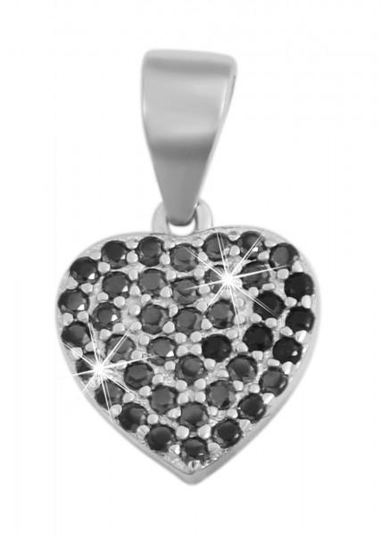925 Echt Silber Anhänger ohne Kette, Herz mit schwarzen Zirkoniasteinen, 925/rhodiniert