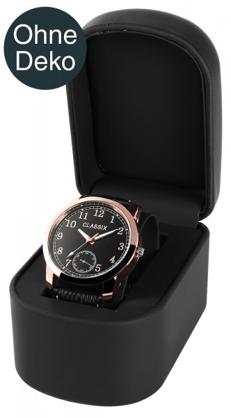 Uhrenbox, Kunststoff+Lederimitation, schwarz, 7,3 cm x 10,3 cm x 8,3 cm