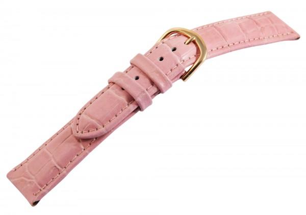 Echtleder-Uhrenarmbänder, rosa, Krokooptik, VE 12, 18 mm