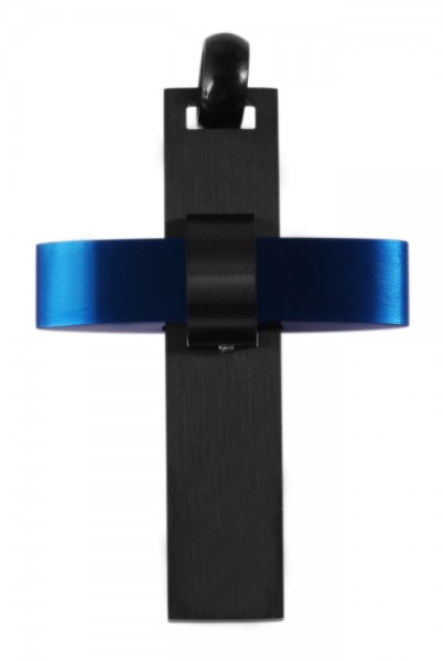 Akzent Kreuz Edelstahlanhänger mit IP Beschichtung in Schwarz und Blau