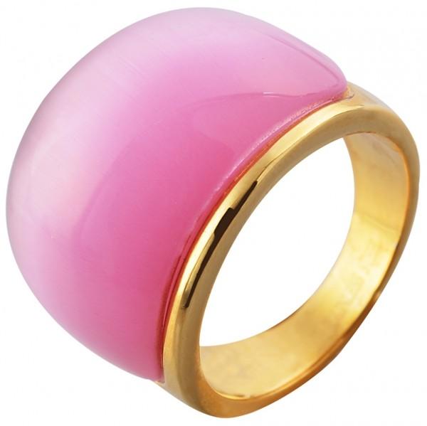 Edelstahlring in Pink, Gr. 58
