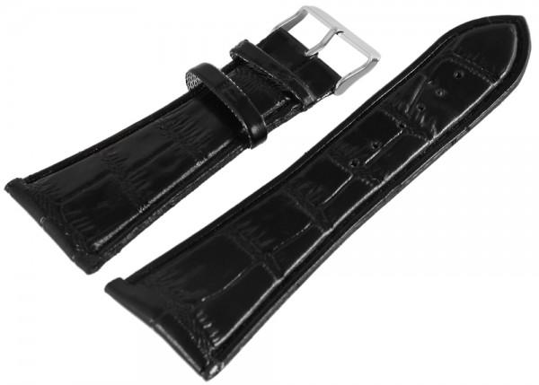 Lederimitations-Uhrenarmband, Krokooptik, schwarz, 30 mm