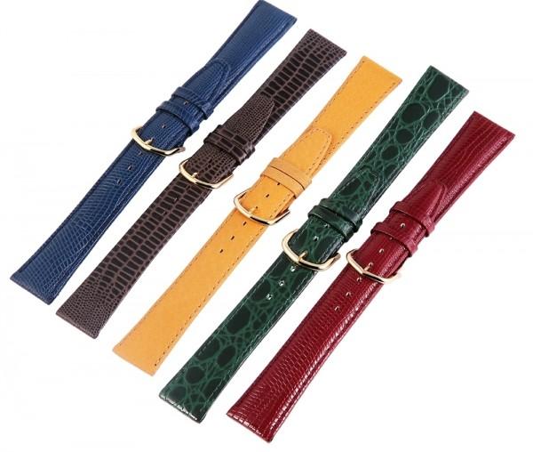 Echtleder-Uhrenarmbänder, verschiedene Farben, VE 12, 16 mm