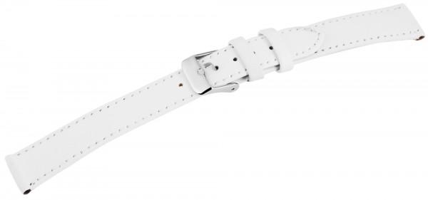 Echtleder-Uhrenarmband, weiß, XL, 16 mm - 18 mm