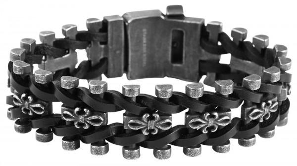 Armband aus Edelstahl und Echtleder in Anthrazit