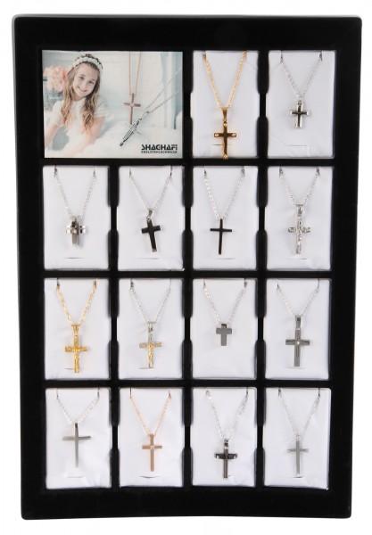 Display und/oder 14 Edelstahlketten mit Kreuzanhänger, Mix