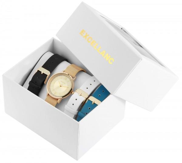 Excelllanc Damen-Meshbanduhr im Geschenkset mit 3 Bändern aus Lederimitat