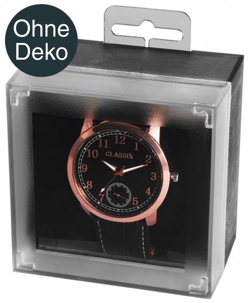 Uhrenbox aus Kunststoff, schwarz/transparent, aufhängbar, 6,1 cm x 8,8 cm x 6 cm