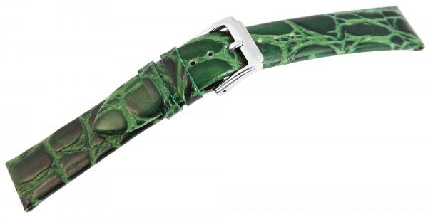 Echtleder Ersatzarmband, grün, glatt, falch, Dornschließe