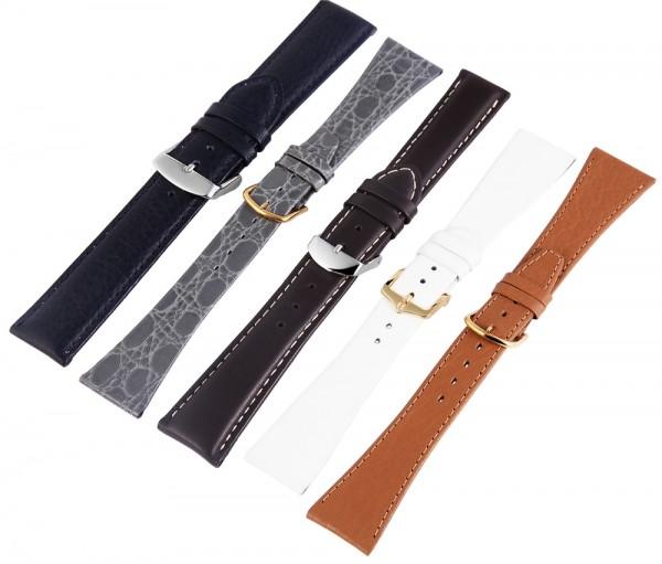 Echtleder-Uhrenarmbänder, verschiedene Farben, VE 12, 22 mm