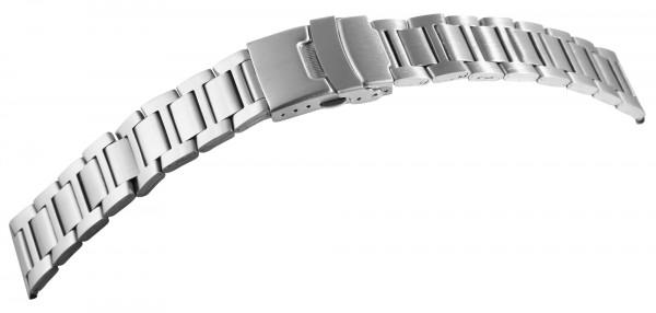 Edelstahl-Uhrenarmband, silberfarben, mattiert, 18 mm - 22 mm
