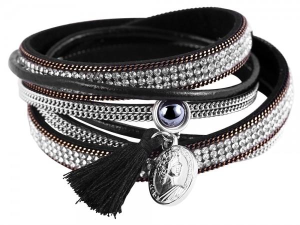 Wickelarmband aus Lederimitat und Metall in Schwarz