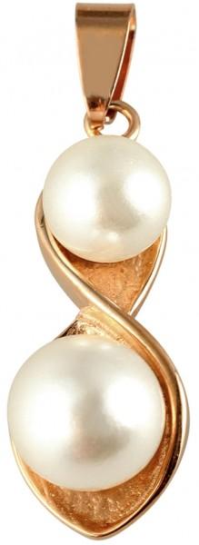 Akzent Perlen Edelstahlanhänger mit IP Beschichtung, roségoldfarbig