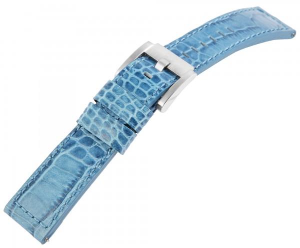 TW Steel Echt Leder Armband, 22 mm,blau, silberf. Schließe