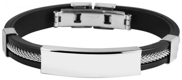 Akzent Armband aus Kautschuk und Edelstahl in Schwarz