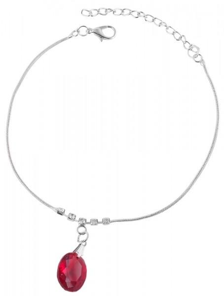 Modeschmuck Fußkettchen, silberfarbig mit roten Steinen