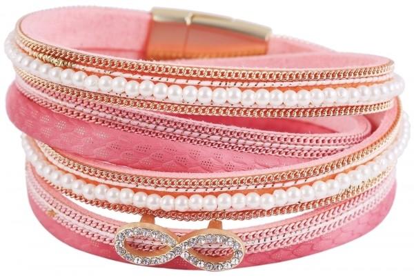 Wickelarmband aus Lederimitat und Metall in Rosa